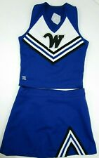"Real Cheerleader Uniform Outfit Costume Sizes Adult XL-XS 30-40"" Top 23-38 Skirt"