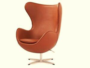 NEW AJ EGG CHAIR FULL TAN LEATHER Arne Jacobsen Swivel Retro Designer Pod