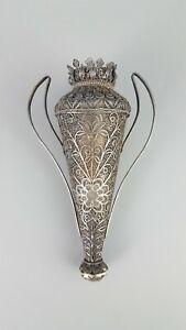 Antique Handmade SILVER FILIGREE VASE, Bulgaria, 1930th