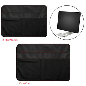 Dustproof Cover PU Leather Dust Cover Guard w/ 3PCS Pockets for iMac Screen