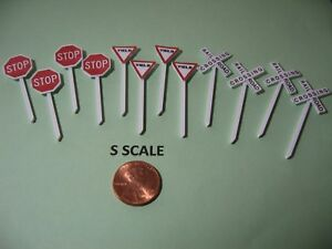 S SCALE SET OF 4 @ STOP & YIELD SIGNS + CROSSBUCKS, CUSTOM-MADE, NEW