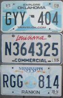 Lot of 3 Different US license plates  Oklahoma  Louisiana  Mississippi  OK LA MS