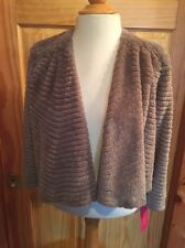 Sunny Leigh Mink Faux Fur Bolero Jacket Shrug Women's NWT Small Taupe