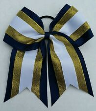 "8"" Navy Blue, Gold, White, Big Cheer Bow, Softball, Cheerleading, Soccer, sports"