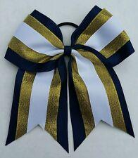 "8"" Navy Blue, Gold, White, Big Cheer Bow, Softball, Cheerleading, Soccer, sports"