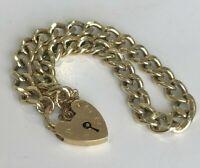 9k Solid Yellow Gold Padlock hallmarked Bracelet 17.17g