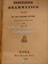 TEATRO: Florilegio Drammatico XX Roma 1831 Kotzebue SENSIBILITA' e ALLEGREZZA