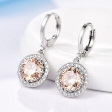 Dazzling Round Champagne Swarovski Crystal Lady Silver Dangle Earrings Jewellery