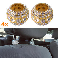 Crystal Rhinestone Car Seat Headrest Pole Collar Golden Charms Bling Accessories