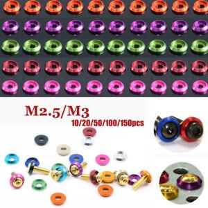 10~150PCS Aluminum M2.5 M3 Anodized Round Head Socket Cap Bolt Washers Gasket