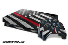 Xbox One X Console Skin with 2 Controller Decals USA RED LINE subdue flag fire f