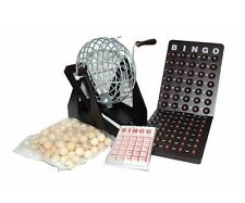 """7.5"""" Wooden Bingo Game Set Silver Metal Cage Wooden Board And Balls 25 Cards New"""