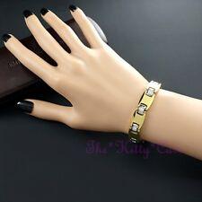 Magnetic Tungsten Arthritis CTS RSI Ladies Slim Crystal 24K Gold PL Bio Bracelet
