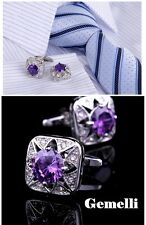 stupendo Viola cristallo GEMELLI CAMICIA UOMO el SWAROVSKI CERIMONIA matrimonio
