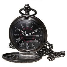 Retro Vintage Antique Steampunk Black Quartz Necklace Pendant Pocket Watch Gift