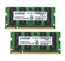 4GB 2x 2G Crucial 2GB 2Rx8 PC2-5300 DDR2 667Mhz 200Pin Laptop Memory RAM #6H