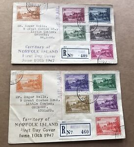 Norfolk Island 1947 FDC +First Complete Set #SG1-12 +Rubber Stamp Cachet +Rare