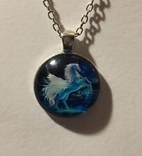 "SHIMMERING REARING UNICORN PENDANT GLASS CAMEO IN SILVER PLATED MOUNT 24"" CHAIN"