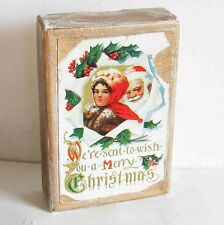"Christmas Wall Plaque of Vintage Postcard Girl Santa 4x6"" canvas on wood Free Sh"