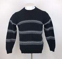 Mens NAUTICA Striped Jumper Sweatshirt Black Grey Crew Neck Small