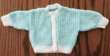 Vintage baby cardigan hand-knitted green and white lovely condition 1960s 1970s