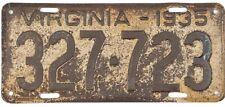 *99 CENT SALE*  1935 Virginia License Plate #327-723 PALINDROME No Reserve
