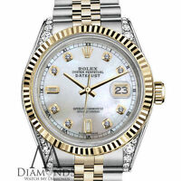 31mm Rolex Datejust 2 Tone White MOP Mother Of Pearl Diamond Dial 18K & SS