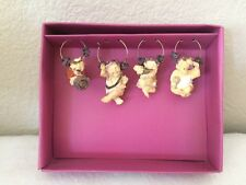 NIP Wine Things Unlimited Little Caesar Men Wine Charms- Party Favors- Set of 4
