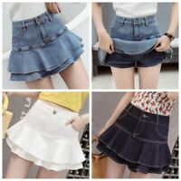 Lady Micro Mini Denim Skirt Sexy Double Layer Falbala Dance Party Casual Fashion