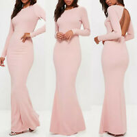 Womens Backless Long Sleeve Slim Bodycon Maxi Dress Formal Evening Cocktail Prom