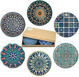 Drink Coasters Set Of 6 Turkish Persian Moroccan Tea Coffee Cup Mat Gift Set