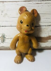 """Rempel Rubber Bear Squeak Squeeze Toy 6"""" 1940s Latex Vintage"""