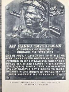 "1953-63 Artvue Jay H. ""Dizzy"" Dean Baseball Hall of Fame Plaque Postcard Unused"