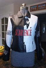 Vtg Woman's SCARFACE LEATHER Embroidered Bomber Jacket Large EUC