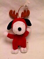 Kurt S Adler REINDEER SNOOPY Cute Plush CHRISTMAS ORNAMENT w/tag holiday winter