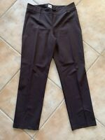 Chico's Womens Sz 2 Brown Flat Front Pants Side Zip Cotton Rayon Spandex