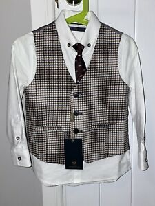 Next Boys Wedding Occasion Wear Waistcoat Shirt & Tie Set Age 4, New RRP £29