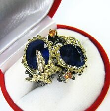 16.3 CTW KASHMIR BLUE SAPPHIRE STARFISH RING sz 8 GOLD & RHODIUM/STERLING SILVER