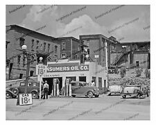 1930s era vintage photo-Gas station-old car-gas pump-Consumers Oil Co.-8x10 in