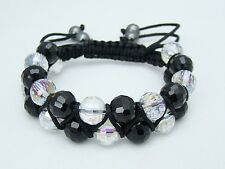 Men's Black Shamballa gemstone bracelet all 10mm CRYSTAL STONE  beads no metal