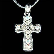 w Swarovski Crystal CROSS Jesus Christ Religious Lord God Charm Pendant Necklace