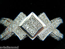 1.00CT CLASSIC PRINCESS CLUSTER & ROUNDS CROSSOVER RING SPLIT SHANK+