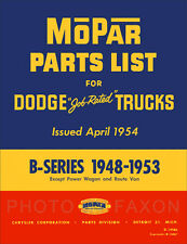 1948-1953 Dodge Pickup and Truck Parts Book B1 B2 B3 B4 1949 1950 1951 1952