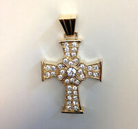 Iron Cross Religious Gold Plated Cubic Zirconia Pendant Charm For Necklace