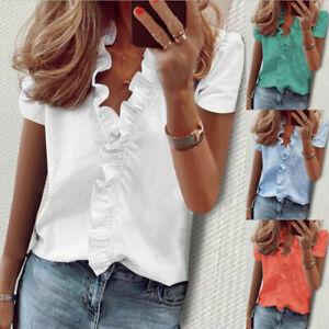 Womens Short Sleeve Shirts Blouse Ladies Ruffle V Neck Top T Shirts Plus Size UK