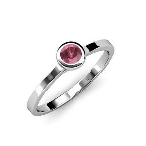 Floating Rhodolite Garnet Solitaire Engagement Ring 0.50 ct in 14K Gold JP:26360