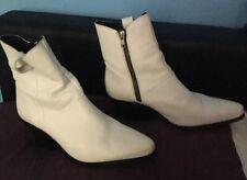 Femme Bureau blanc cow-boy cuir Style Fermeture Éclair Cheville Bottes Taille UK 6