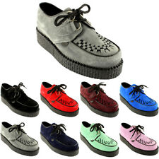 Womens Underground Wulfrun Creepers Lace Up Goth Retro Shoes Suede New All Sizes