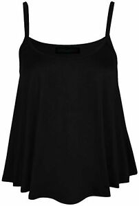 New Women's Ladies Sleeveless Strappy Plain Swing Cami Vest Flared Top