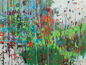 Intuitive abstract painting, green, by artist Joy Campbell